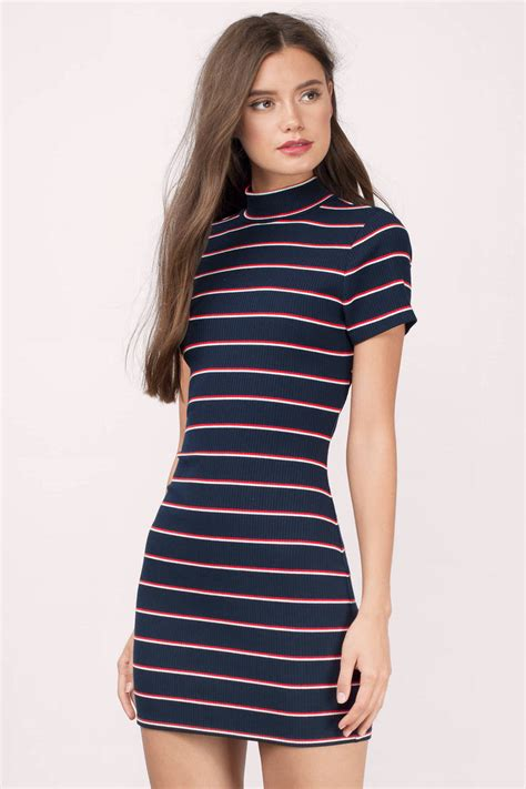 Dress Stripe navy multi bodycon dress open back dress navy