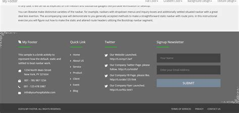 twitter bootstrap layout header footer bottom responsive html bootstrap and materializecss