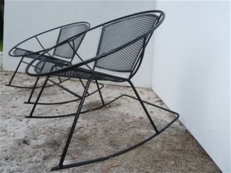 Wrought Iron Rocker Patio Chairs Pair Mid Century Salterini Wrought Iron Patio Hoop Rocker Chairs Ebay