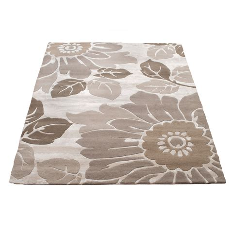 Large Indian Summer Kew Wool Rug Beige 170 X 240cm Rug Uk