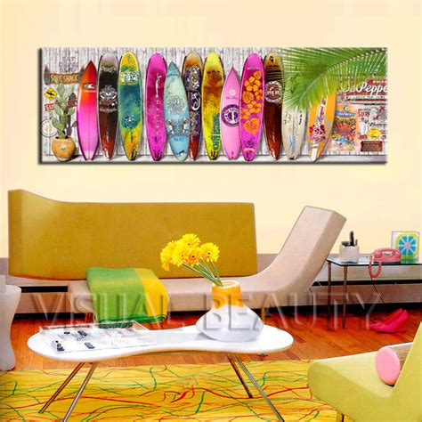 surfboard wall art home decorations compare prices on surfboard paintings online shopping buy