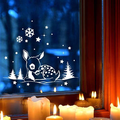 Fensterdeko Weihnachten Schnee by Fensterbild Wandtattoo Reh Im Schnee Deko Winter