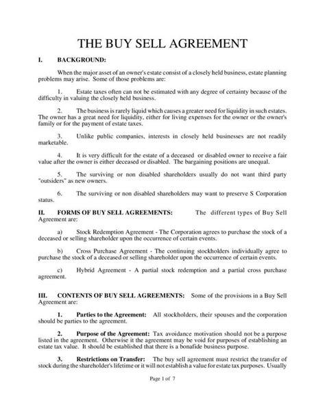 Buy Templates by Understanding The 3 Fundamentals Of A Buy Sell Agreement