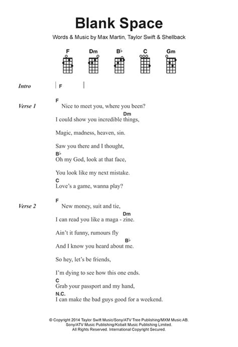 taylor swift chord blank space blank space sheet music by taylor swift ukulele lyrics
