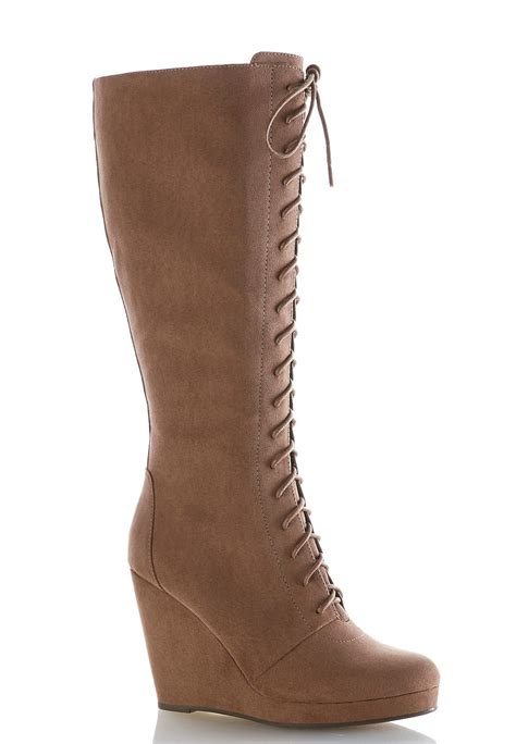 Lace Up Wedge Boots lace up wedge boots cato fashions