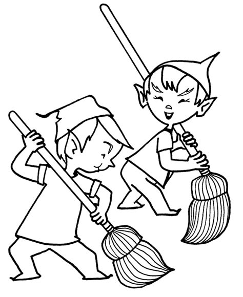 coloring pages elves santa santa s elves coloring pages santa s elves cleanup