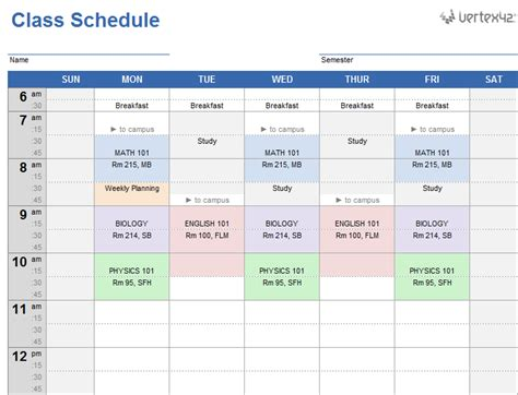 class calendar template weekly class schedule template for excel
