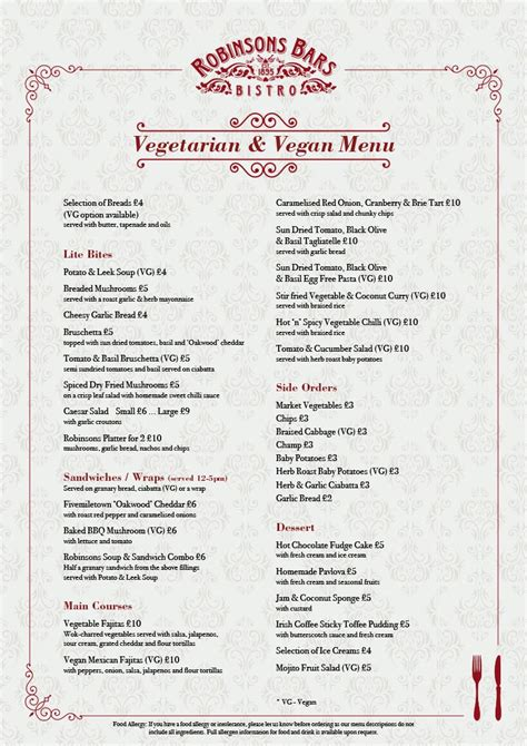 menus robinsons bar bistro