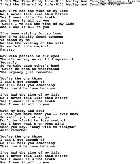 the time of my love song lyrics for i had the time of my life bill medley and jennifer warnes