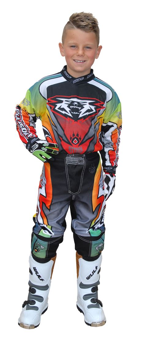 childrens motocross gear wulfsport attack cub motocross set race motorbike