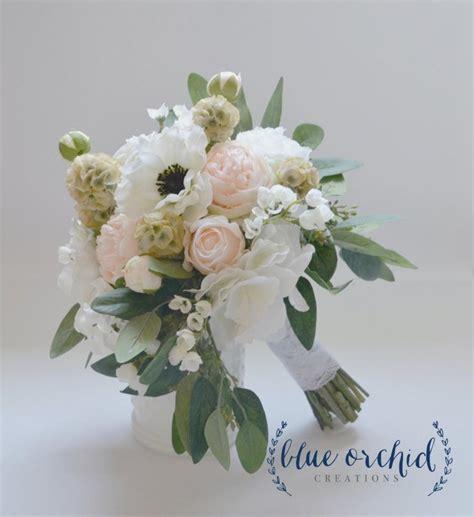 shabby chic style floral bouquet blush wedding bouquet anemone peonies ranunculus garden bouquet bridal bouquet