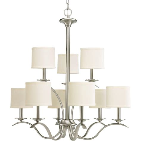 progress lighting brushed nickel chandelier progress lighting inspire collection 9 light brushed