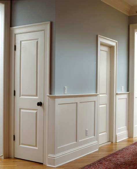 Door Knobs Hall Traditional With Beige Wainscoting White » Home Design 2017