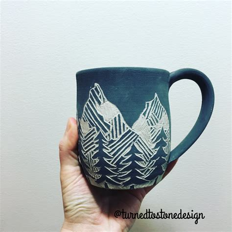 mug design pinterest sgraffito mountain mug by turned to stone design pottery