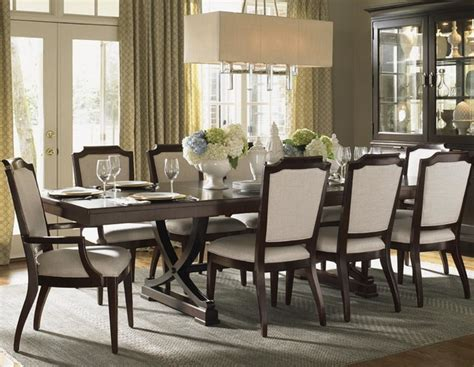 transitional dining room sets kensington place eleven dining set with chairs upholstered in odessa fabri
