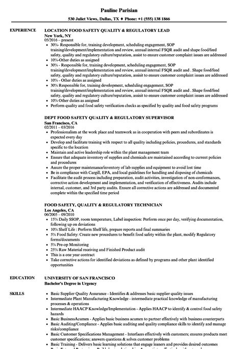 Food Safety Specialist Sle Resume by Food Safety Specialist Sle Resume Legislative Analyst Sle Resume Clinical Assistant Cover