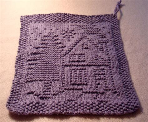 free knit dishcloth patterns a dishcloth house and tree free pattern from