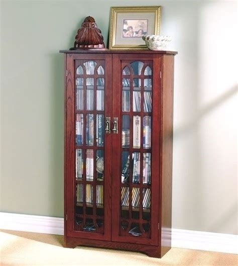 glass front dvd cabinet cherry finish wooden media cabinet 6 shelf cd dvd storage