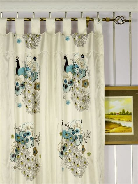 peacock kitchen curtains blue embroidered peacocks tab top faux silk curtains