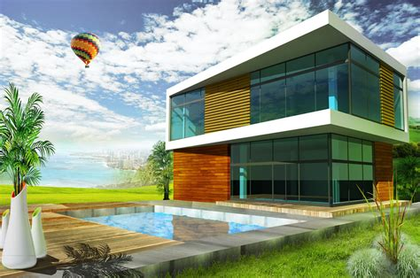 photoshop design from home modern house rendering arch student