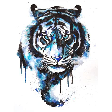 watercolor tattoo tiger blue tiger by colors of the watercolor