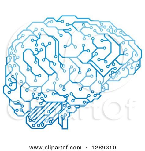 clipart of a blue artificial intelligence circuit board