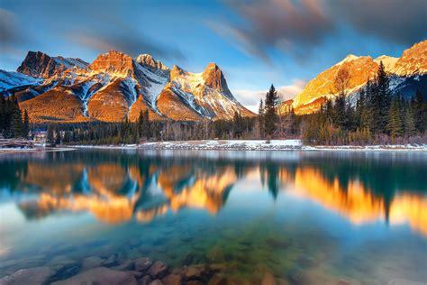 gold wallpaper canada landscape nature mountains lake reflection alberta canada