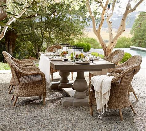 Outdoor Dining Sets Pottery Barn Concrete Rectangular Dining Table Pottery Barn