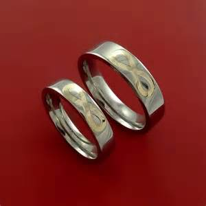 Infinity Wedding Band Sets Yellow Gold Infinity Symbol And Titanium His And