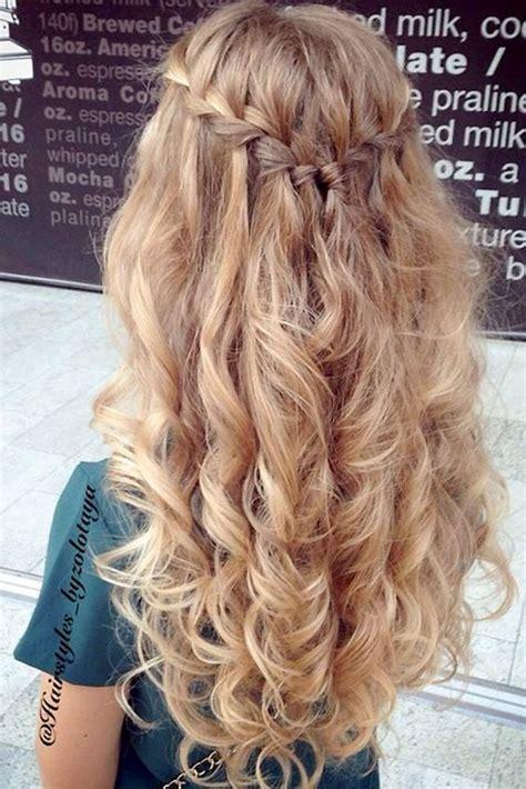 waterfall braid  curly hair prom wedding blonde