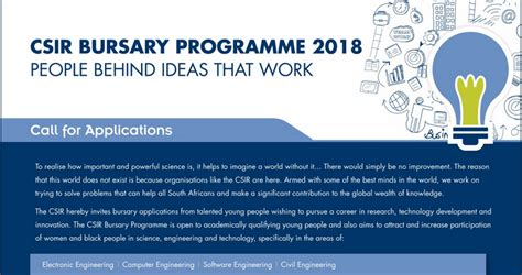 Mba Bursaries 2018 by Csir Undergraduate Postgraduate Bursary Programme 2018 For