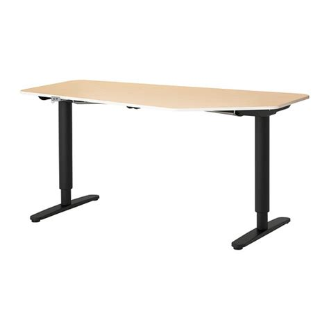 Bekant 5 Sided Desk Sit Stand Birch Veneer Black Ikea Ikea Standing Desks