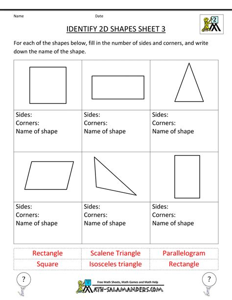 worksheet on shapes for grade 3 2d shapes games grade 4 classroom freebies 2d shapes