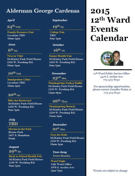 Chicago Event Calendar 2015 Events 12th Ward Chicago