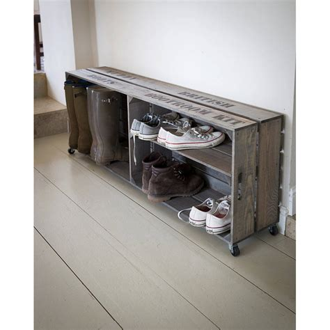 shoe and boot storage wooden boot and shoe storage crate by garden selections
