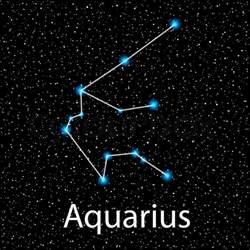 vector aquarius zodiac sign bright blue stars in cosmos