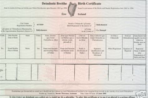 Full Birth Certificate Ireland   birth certificate affidavit ireland image collections