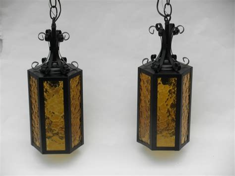pair   vintage gothic hanging lights wrought iron