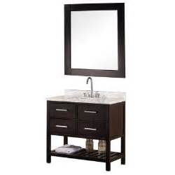 Vanity in espresso with marble vanity top and mirror in carrera white