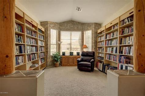 library with built in bookshelf interior wallpaper in
