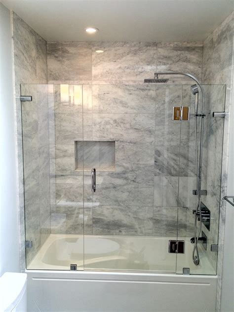 glass enclosure for bathtub shower enclosures contemporary bathroom vancouver