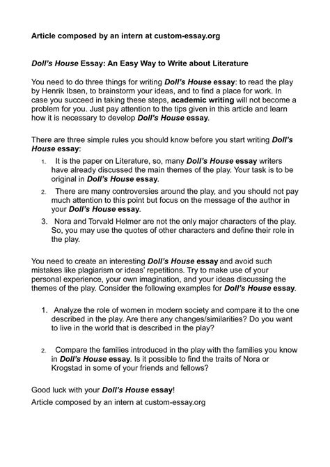 Simple Way To Write An Essay by Calam 233 O Doll S House Essay An Easy Way To Write About Literature