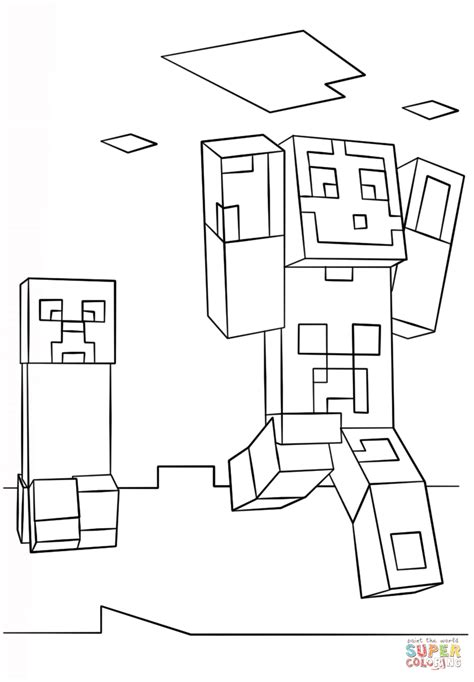 minecraft coloring pages creeper face minecraft steve and creeper coloring page free printable