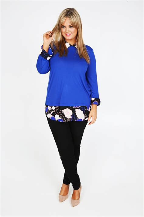 The B Club Print Blouse Blue blue 2 in 1 top with floral print blouse plus size 16 18