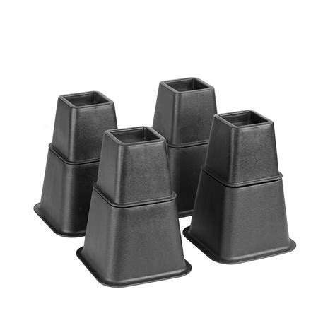 simplify adjustable 8 black bed risers set 2998 8 the home depot