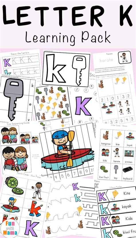 Letter K letter k activities for preschool printable pack