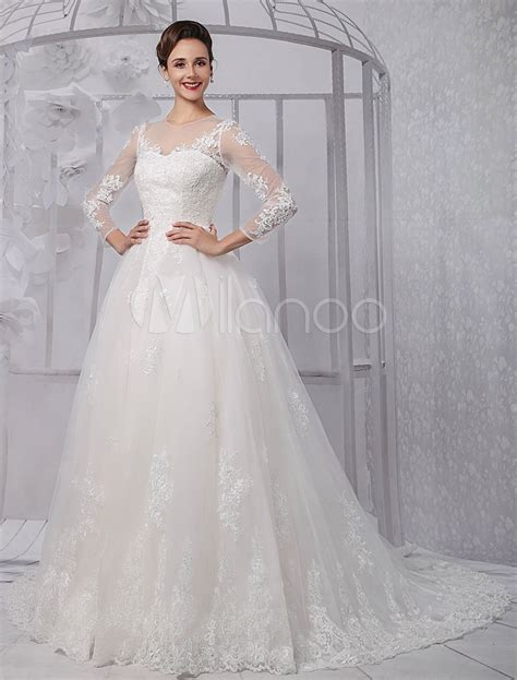 Wedding Dress Overskirt by Sleeves Illusion Neck Line Lace Bridal Wedding Gown