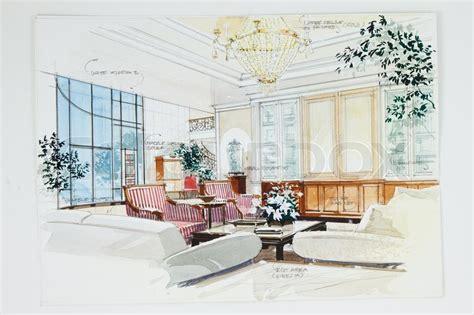 bilder eines wohnzimmers skizze eines innenraums wohnzimmer stockfoto colourbox