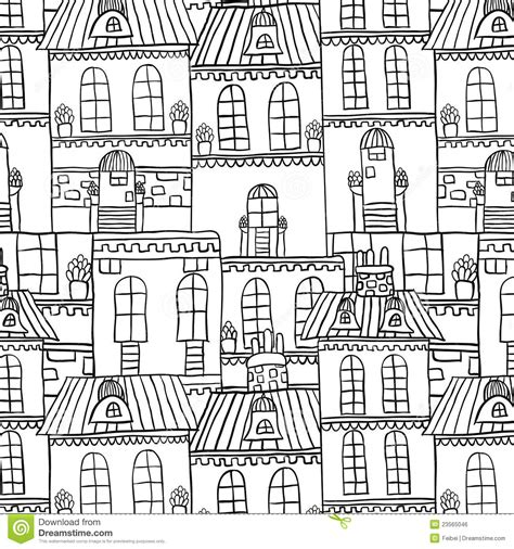 pattern house seamless hand drawn house pattern royalty free stock image