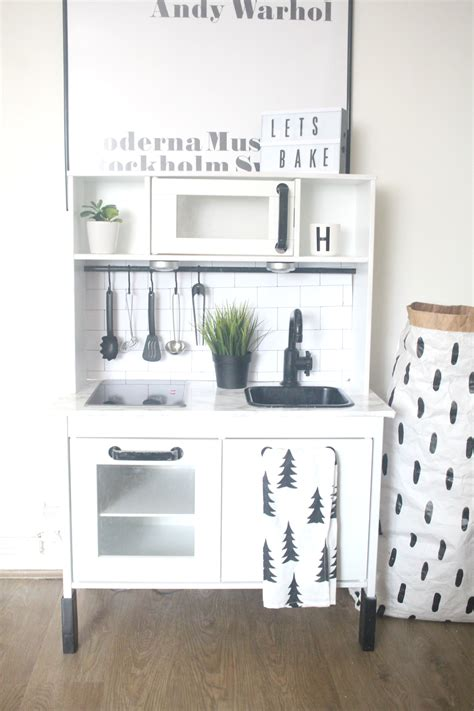 ikea makeover ikea hack duktig play kitchen monochrome makeover oh so